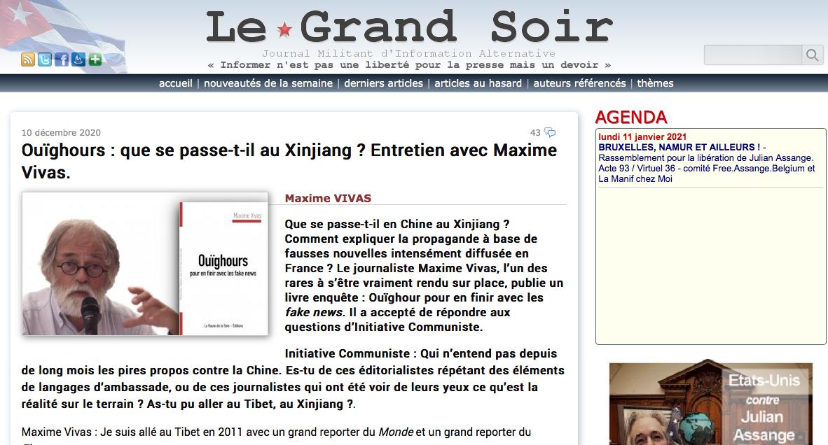 Maxime Vivas dans le Grand Soir Info