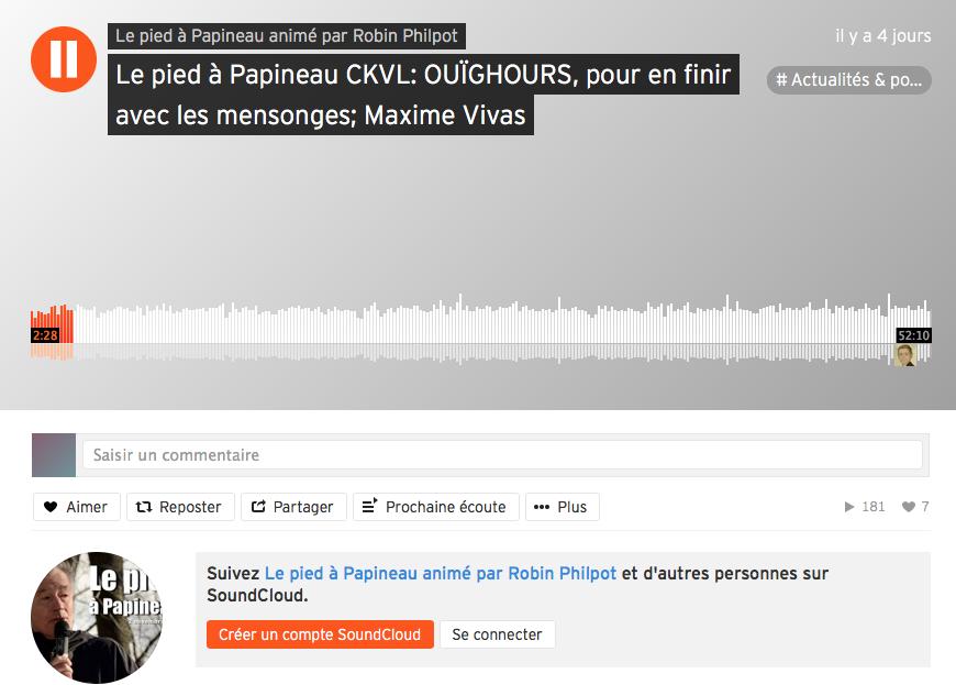 Maxime Vivas dans l'émission Le Pied à Papineau