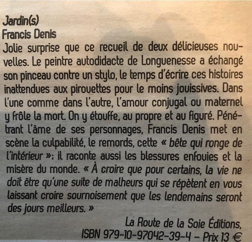 Francis Denis  dans l'Écho du Pas-de-Calais