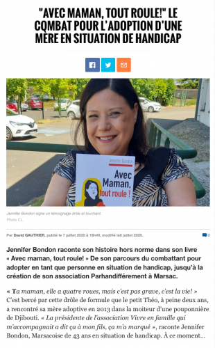 Jennifer Bondon dans la Charente Libre