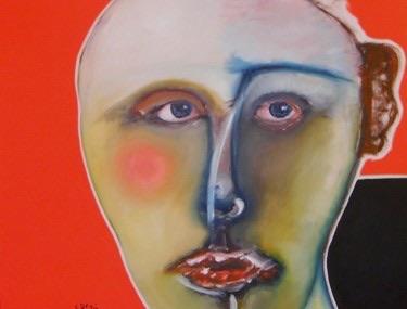 Jeune homme chauve Huile sur toile 90 x 70 cm