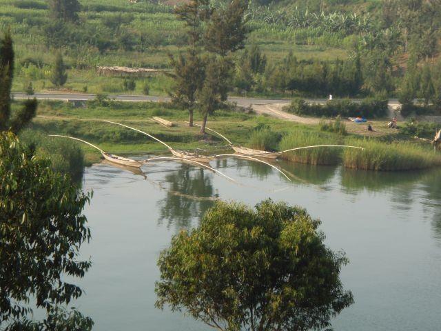 Auslegerboote auf dem Kivu See