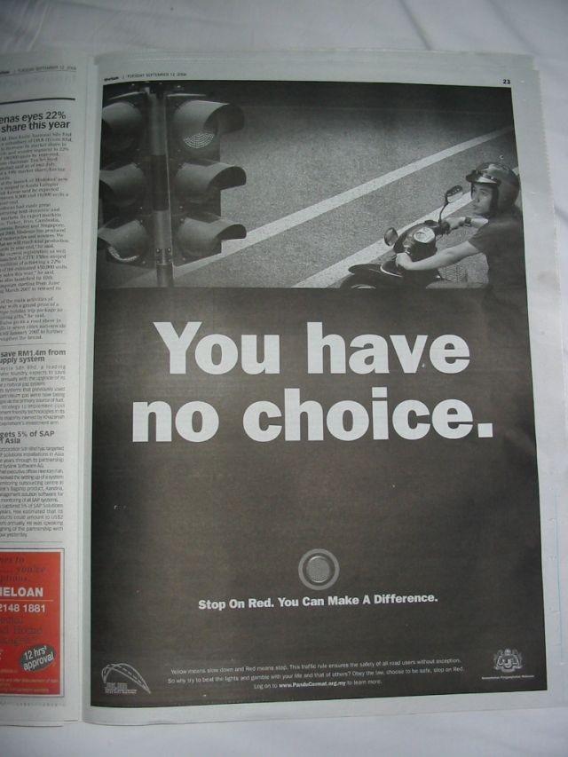 ganzseitige Werbung, um bei Rot zu stoppen
