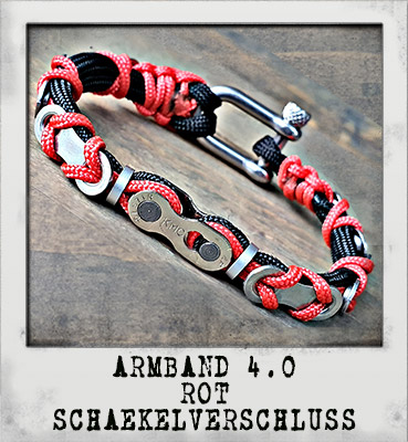 Armband 4.0 Rot Schäkelverschluss