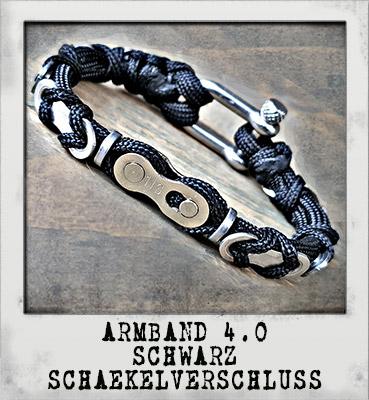 Armband 4.0 Schwarz Schäkelverschluss
