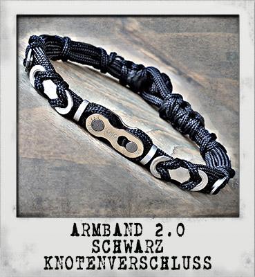 Armband 2.0 Schwarz Knotenverschluss