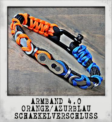 Armband 4.0 Orange/ Azurblau Schäkelverschluss