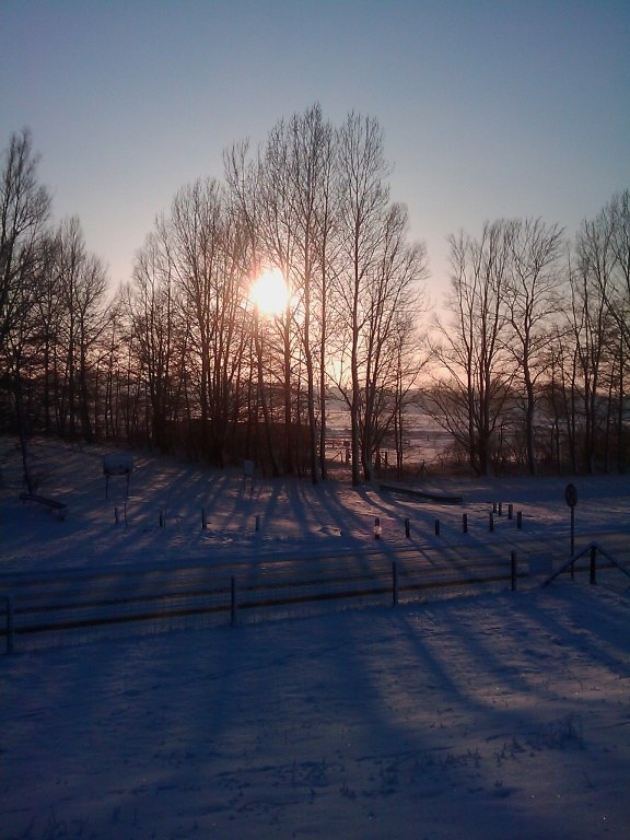 Blick auf die Jaderennbahn vom Deich Winter 2010/2011
