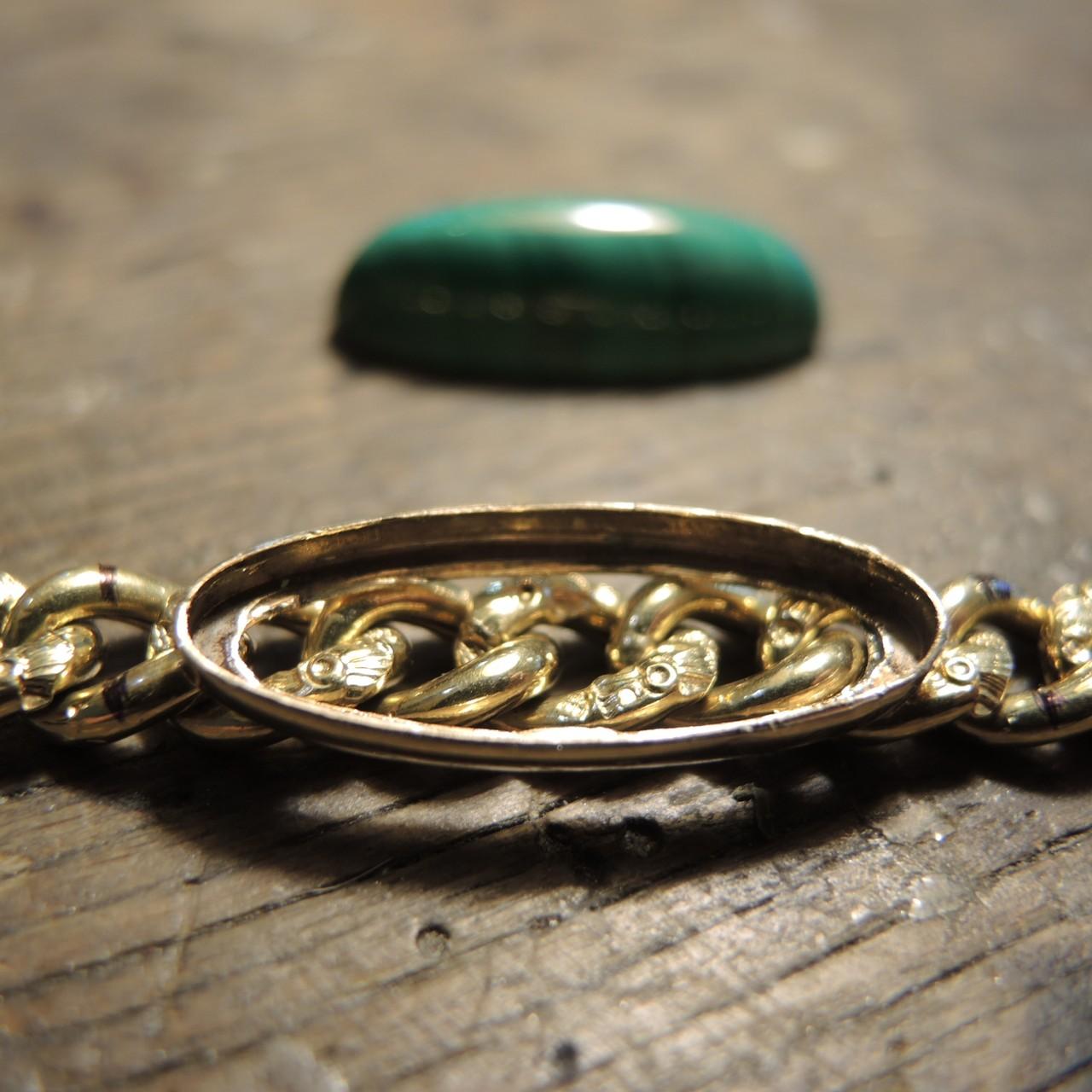 Gold Fassung an der Armkette angelötet