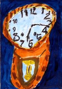 「昔の時計」1年 背景にこれまであまり使ったことのない色を使ってみると、面白い発見がありましたね。夜のような雰囲気がでました。