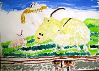 「ヤギをみたよ」年長 遠足で見たヤギを描きました。ヤギの表情が何とも言えずかわいいですね。