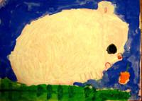 「ふわふわのうさぎさん」年中 クレパスに絵の具にと、大きな画用紙に夢中で描きました。ピンクで描いた小さな4本の足が子どもらしい表現で可愛らしいですね。