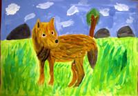「オオカミ」5年 広い草原で何を見つめているのでしょうね。動物の足のつき方を何度も確認しながら描きました。