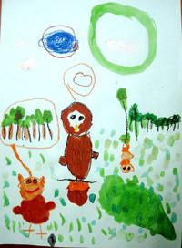 「ふくろうのおともだち」年中 右の小さなフクロウさんは木にぶら下がって遊んでいるよ。左のフクロウさんは森のことを考えている。真ん中のフクロウさんも何か考えているのかな?いろいろとイメージを膨らませながら楽しく描けました。