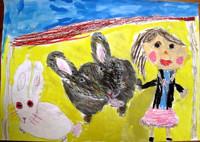 「うさぎさんをさわったよ」年長 概念的なウサギではなく、よく観察して描いたウサギの形や色が魅力的です。