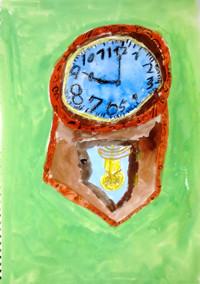「古い木の時計」2年 茶色の濃淡がきれいですね。背景に使う色も主役を生かすようなきれいな色が作れました。