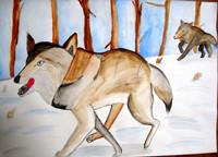 「オオカミ」6年 絵の具を器用に使い、繊細なタッチで描かれています。色遣いから冷えた冬のイメージもよく伝わってきますね。