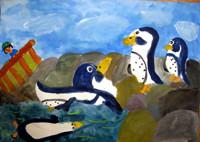「フンボルトペンギン」3年 ペンギンの飄々とした感じの表情が微笑ましいですね。岩を描くときの混色を工夫しました。