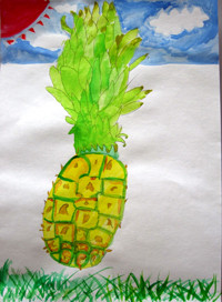 「パイナップル」2年 南国のイメージで空を描いてみました。下に草もかくと画面が落ち着きましたね。