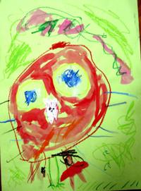 「ベニコンゴウインコ」年中 おしゃべりする赤い鳥を見たのが印象的だったようです。周りは桜が咲いていて、草も生えている。とお話をつくりながら描き進めました。