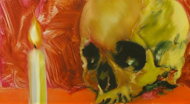 MATTHIAS KÖSTER  I  Skull Links  I  Öl auf Aluminium  I  25 x 45 cm