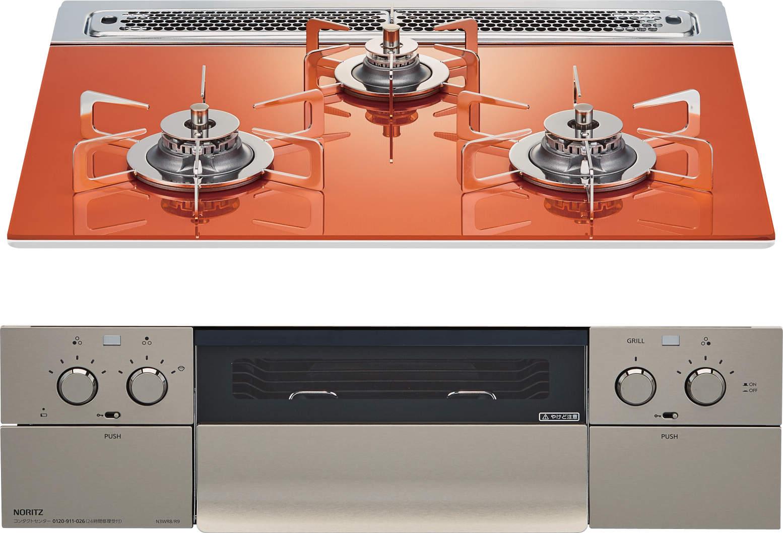 ピアットワイド フラッシュオレンジ60天板+ステンレスゴトク