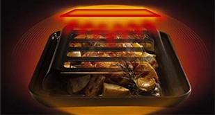 ココットプレートの加熱イメージ。スリットから直火も届くので焦げ目もきちんとつきます。