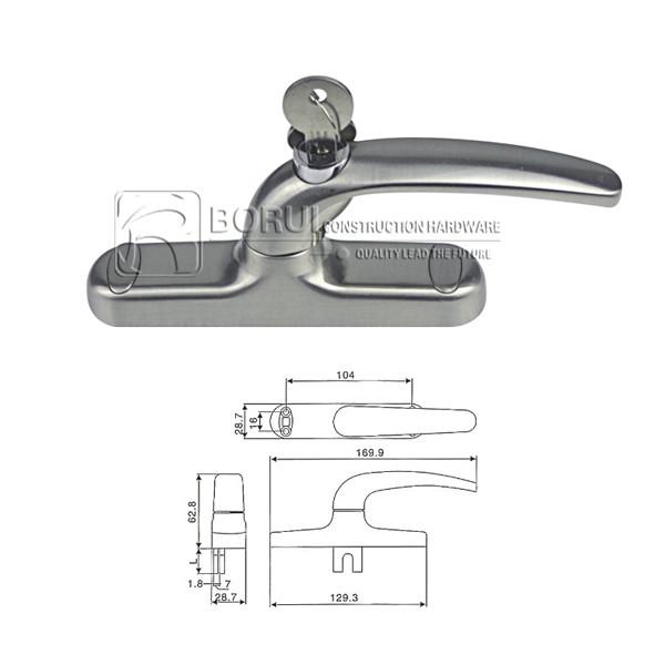 BR.1026 Aluminium Door and Window Handle, Cremone Bolt Handle