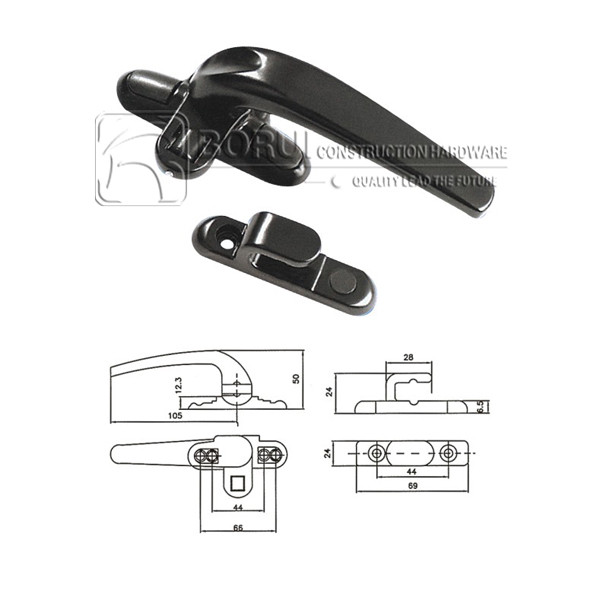 BR.304 Aluminium Casement Window Handle, Cockspur Window Handles