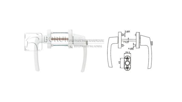 BR.209 PVC Door Handle with Button Lock, Espagnolette Handle