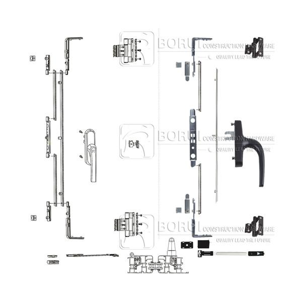 BR.102 European Casement Window Multipoint Lock System for Inward Opening