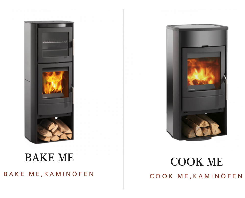 Lohberger cook me bake me Kaminofen mit Backöfen und Herdplatte