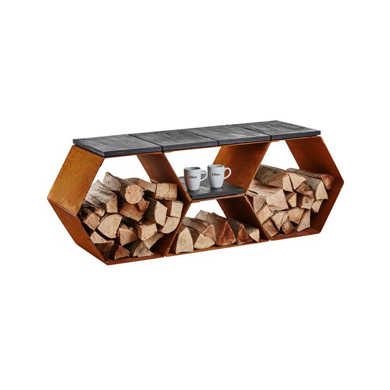 Sitzbank aus Corten Stahl mit Holzlager - Brennholz richtig lagern