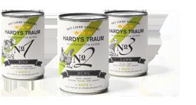 Hardys Traum® Basis ist das Premium-Alleinfutter für den Hund ohne Unverträglichkeiten und Allergien, angeboten in den drei Menüvarianten Rind, Huhn und Lamm.
