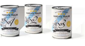 Hardys Traum® Sensitiv. Das Premium-Alleinfutter ist gluten- und laktosefrei und für Hunde mit Getreide- oder/und Milchunverträglichkeit geeignet. Drei Menüs stehen zur Auswahl: Rind, Huhn oder Lamm.