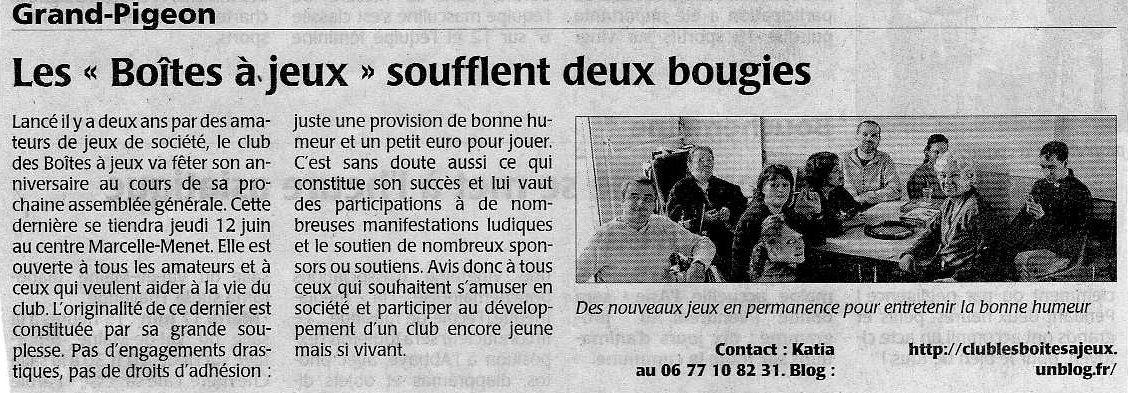 journal Courrier de l'Ouest mai 2008