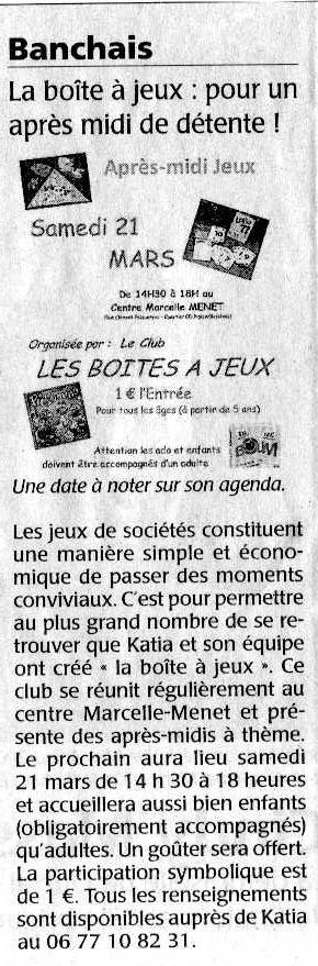 journal Courrier de l'Ouest mars 2009