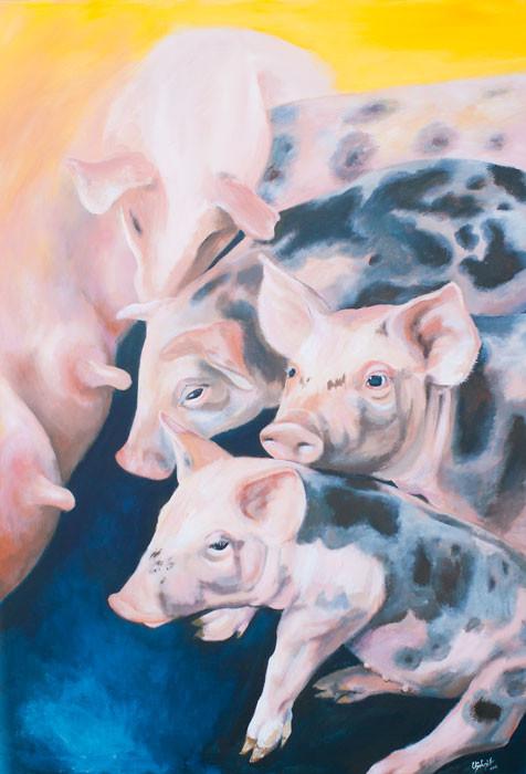 """Ferkel"", 2015, Acryl auf Leinwand, 70x100cm /verkauft"