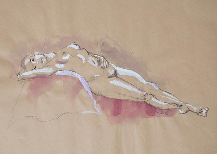 """Weiblicher Akt, liegend"""", 2015, Buntstift, Aquarell & Tusche auf getöntem Papier, 40 cm x 30 cm"""
