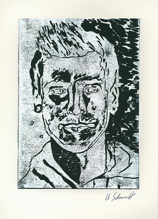 """Maik"", 2015, Holzschnitt auf Papier, 30 cm x 40 cm"
