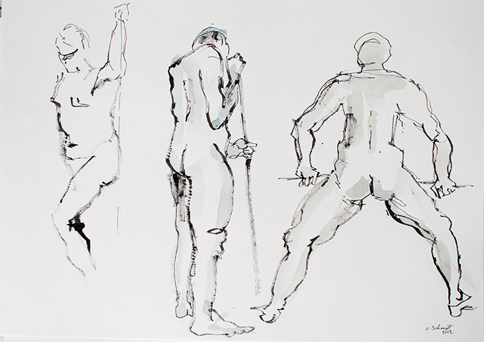 """""""3 männliche Akte, stehend"""", 2012, Bleistift & Aquarell auf Papier, 40 cm x 30 cm"""