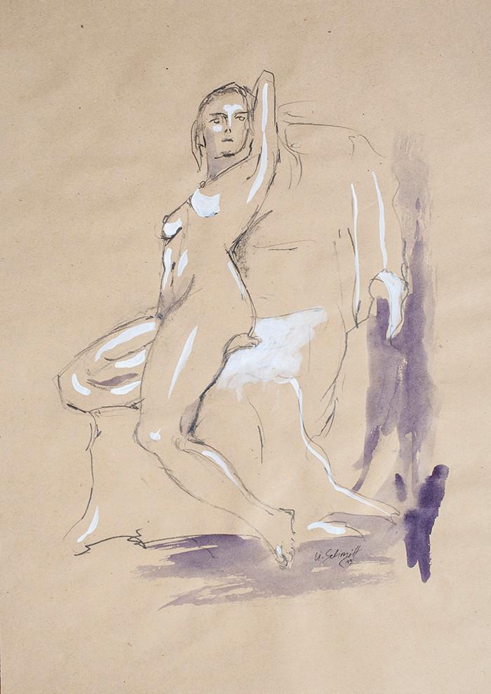 """Weiblicher Akt, sitzend"""", 2015, Buntstift, Aquarell & Tusche auf getöntem Papier, 30 cm x 40 cm"""