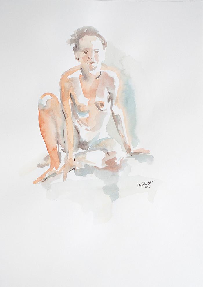 """""""Weiblicher Akt, sitzend"""", 2013, Aquarell auf Papier, 30 cm x 40 cm"""