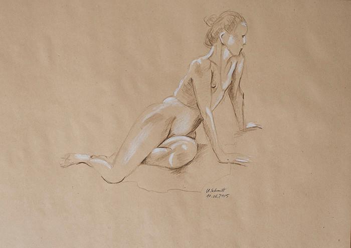 """Weiblicher Akt, sitzend"""", 2015, Buntstift auf getöntem Papier, 40 cm x 30 cm"""