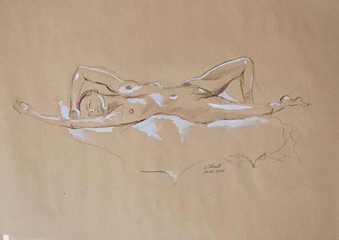 """""""Weiblicher Akt, liegend"""", 2015, Buntstift & Tusche auf getöntem Papier, 40 cm x 30 cm"""