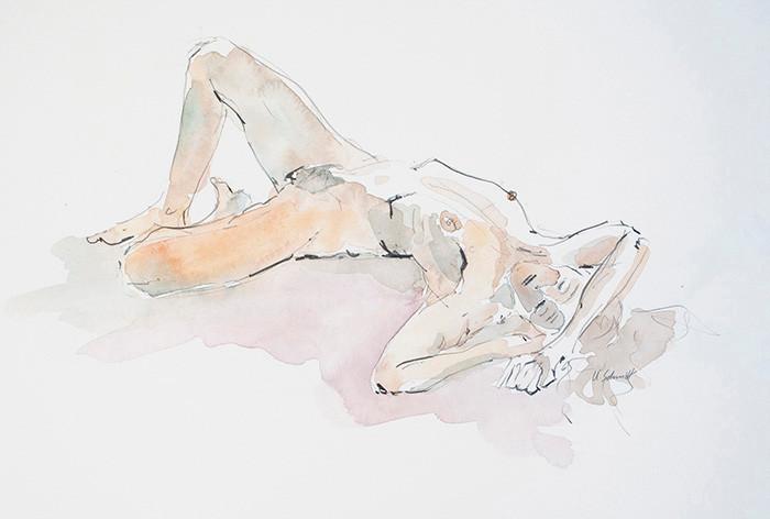 """""""Weiblicher Akt, liegend"""", 2013, Bleistift & Aquarell auf Papier, 40 cm x 30 cm/verkauft"""