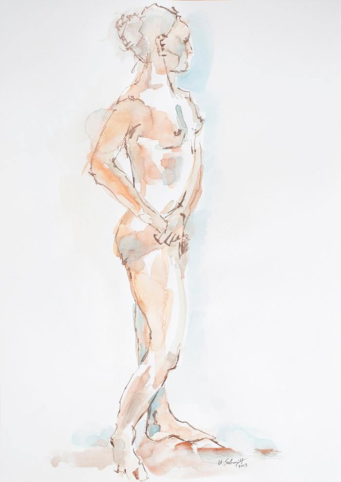"""""""Weiblicher Akt, stehend"""", 2013, Aquarell auf Papier, 30 cm x 40 cm"""