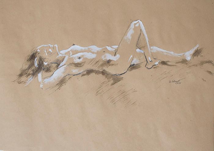"""Weiblicher Akt, liegend"""", 2015, Buntstift & Tusche auf getöntem Papier, 40 cm x 30 cm"""