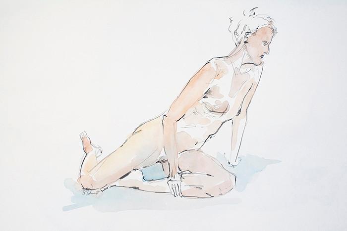 """""""Weiblicher Akt, sitzend"""", 2013, Bleistift & Aquarell auf Papier, 40 cm x 30 cm"""