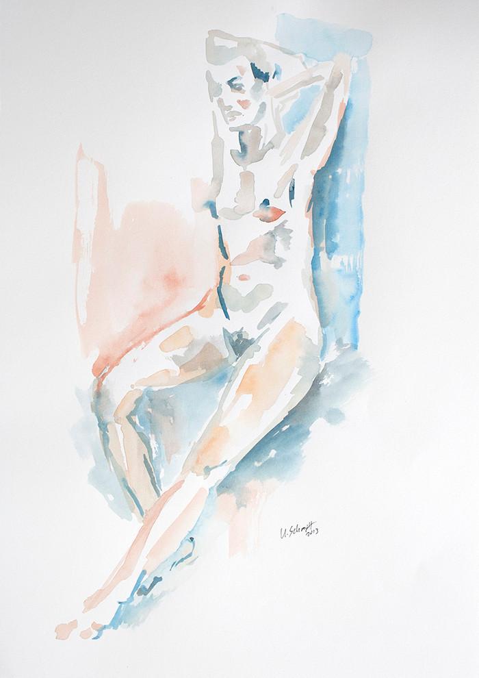 """""""Weiblicher Akt, sitzend"""", 2013, Aquarell auf Papier, 30 cm x 40 cm/verkauft"""